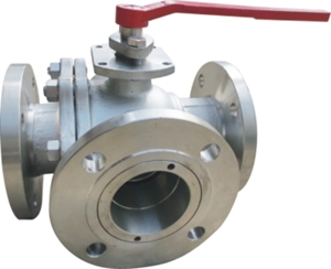Picture of SS CF8M 3 Way T Port  Ball Valve  Class 150 Flanged -  ISO Direct mount