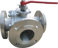 Picture of SS CF8M 3 Way L Port  Ball Valve  Class 150 Flanged - ISO Direct mount