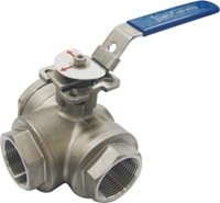 Picture of SS 316 3 Way L Port Ball Valve 1000 FNPT   - ISO Direct Mount