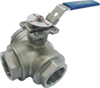 Picture of SS 316 3 Way T Port Ball Valve 1000 FNPT  - ISO Direct mount