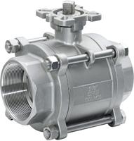 Picture of SS 316 3-Piece Full Port Ball Valve 1000 RPTFE FNPT  - ISO Direct mount