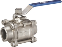 Picture of SS 316 BUTT WELD 3-Piece Full Port BALL VALVE 1000