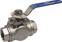 Picture of SS 316 3 Way L Port Ball Valve 1000 RPTFE FNPT (LOW Mount)